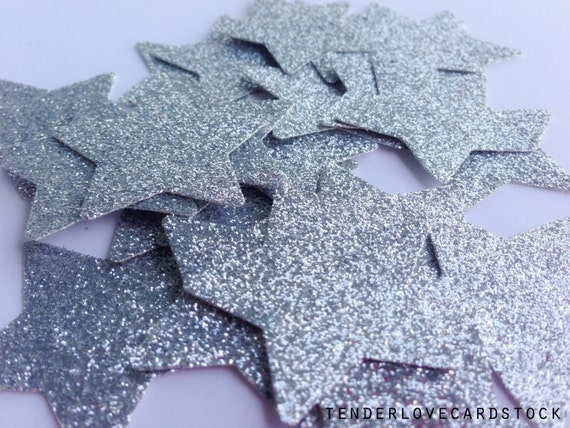 """50 Silver Glitter Star Die Cuts -  1 3/8"""" - Wedding Confetti. Silver Party Decor. First Birthday. Party Decorations. Baby Shower. Twinkle."""