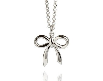 Classic Chic Bow Necklace on Sterling Silver Hallmarked 925, British London Gift Jewellery UK
