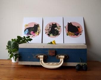 Black Cat series of A5 Prints - Black Cat illustration - Cat Print - I like Cats - Black cat - Home decor - Cat art - Wall art - art - Cat