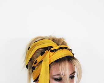 Yellow Cotton Spring Headband, Hairband, Crochet Flower Hairband, Women's Head Wrap, Hair Accessories, For Women, For Her