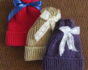 Hand Knit Baby Hat made with all natural yarns of silk and bamboo