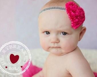 15% Off..Baby Headbands, Baby Girl Headband, Baby Bows Headband, Infant Headband, Valentines Head band, Heart Headband, Valentines Bow
