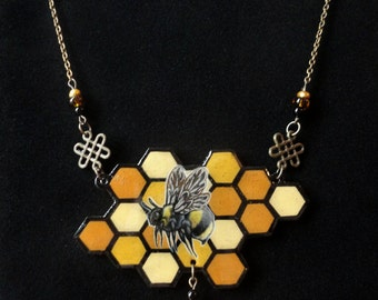 Hand Drawn Honey Bee on Honey Comb Pattern Shrink Plastic Necklace