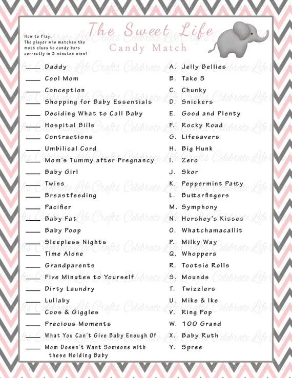 Priceless image with printable baby shower candy bar game with answers