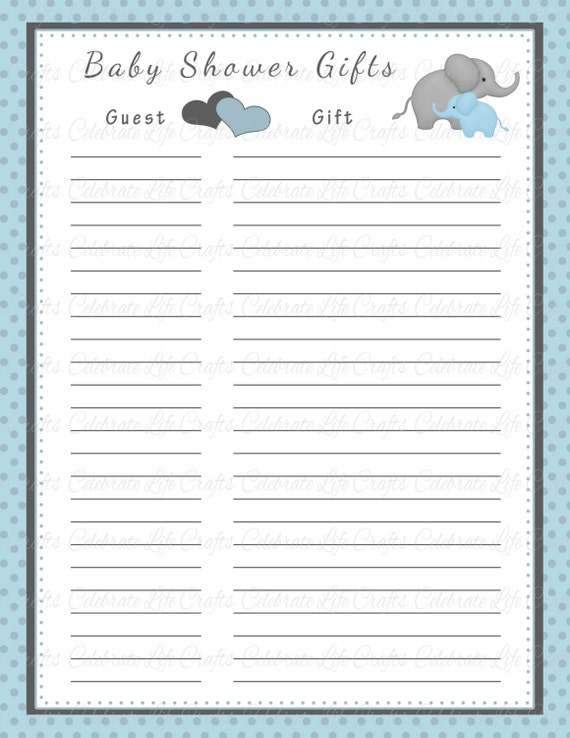 Baby shower gift list printable baby shower party for Baby shower decoration checklist