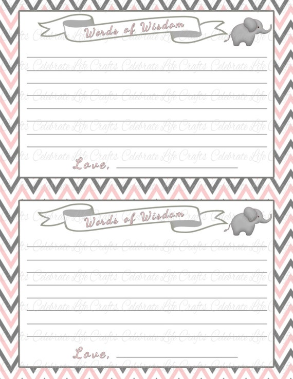 Worksheets For New Moms : Baby shower words of wisdom advice cards new mom dad