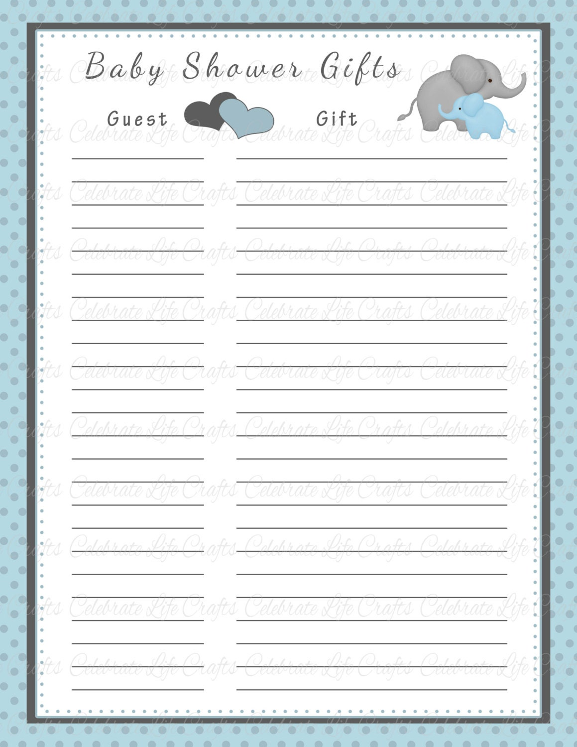 baby shower gift list printable baby by celebratelifecrafts, Baby shower