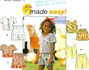 Little Girl's Summer Button Front Tops with Jewel Neckline and Shorts Sewing Patterns 6 Made Easy Simplicity 7616 Girl's Sizes 2 3 4