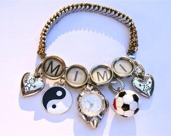 MIMI NANA Grandmother Bracelet Custom Charm Bracelet Typewriter Key Jewelry