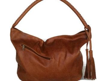 Brown leather hobo purse with tassel / casual shoulder bag /  handmade handbag Sofia
