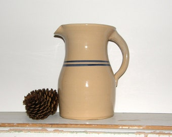 Vintage Large Handmade Stoneware Pitcher With Blue Band