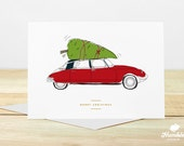 Merry Christmas Card - Christmas Tree, Vintage Car, Citroen DS, Christmas, Family, Friends, Work, Tree, Nature, Tradition