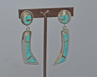 ZUNI Sterling Silver Earrings Inlaid Turquoise Pierced