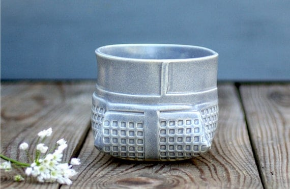 Geometric vase , Gray Ceramic Vase, modern vase, Gray Planter ,ceramic flower pot, Succulent Planter, Contemporary ceramic