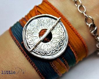 Graduation Gift, Mandala, Handcrafted Pure Silver Mandala Silk Wrap Toggle Bracelet  Yoga Jewelry  UVA colors