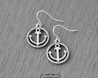 Silver Anchor earrings, Silver anchor, nautical, summer earrings, circle anchor, round frame, nautical jewelry by jewelmango