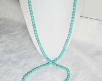 Turquoise Necklace Long Single Strand Small 6mm Round Beads Beaded