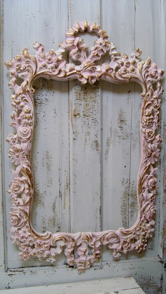 Large shabby chic pink wall frame ornate white by - Large antique picture frames ...