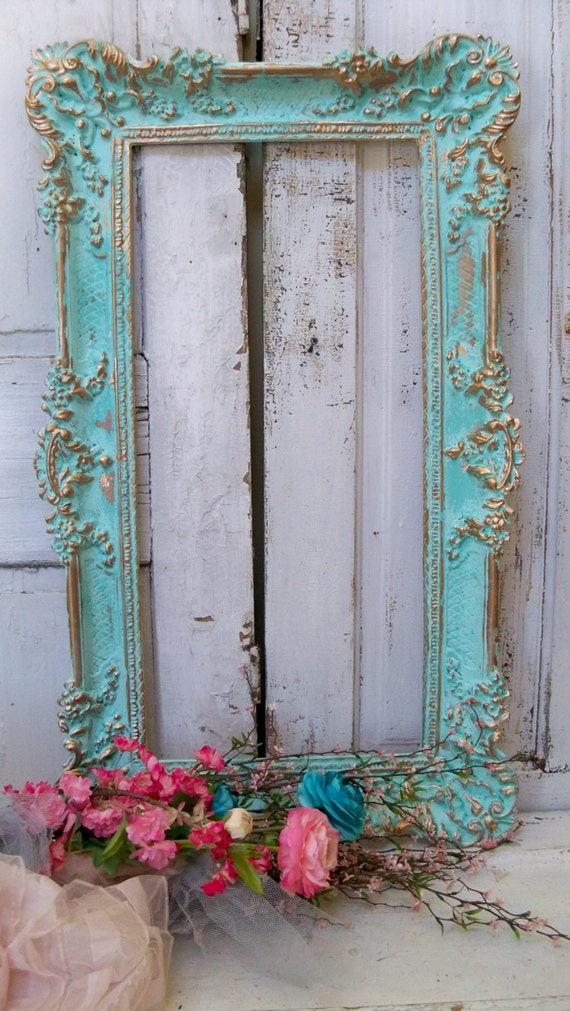 Aqua picture frame wall decor hint of turquiose ornate