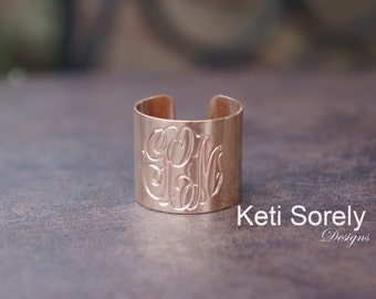 Monogrammed Cuff Ring - Personalized Initials Ring in Rose Gold - Solid Gold Or Silver - Initials Cuff Ring - Statement Ring