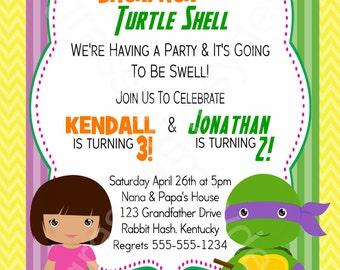 Dora, Ninja Turtle, Brother, Sister, Twins Birthday Party Invitation