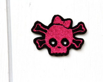 Pink Skull Design for Embroidery Machine,  Multiple Formats Available. Pink Skeleton