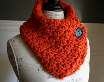 Pumpkin Orange Cowl Neck Scarf with black button, crocheted