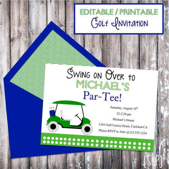 Instant Download Printable Golf Invitation Editable