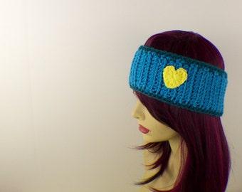 Sky Blue Crochet Headband with Yellow Heart