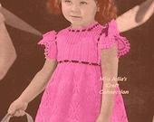 Vintage 1944 Baby Girl Toddler Fancy Pineapple Lace Crochet Dress C194 PDF Digital Crochet Pattern