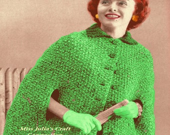 A Best Vintage 1950s Short 'n Sweet Tweed Cape Stole Wrap 464 PDF Digital Knit Pattern