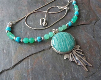 Amazonite Pendant Necklace with Chrysoprase and Turquoise, Handmade, Sterling Silver