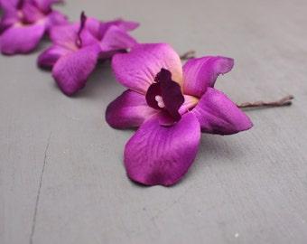 Set of 4 Vibrant Purple Silk Dendrobium Orchid Hair Flowers Bridesmaids Wedding