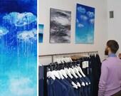 Blue art Gemälde leinwand blau Aqua malerei Turquoise painting Aqua paintings Wall art Home decor Abstract art Original painting Wall decor