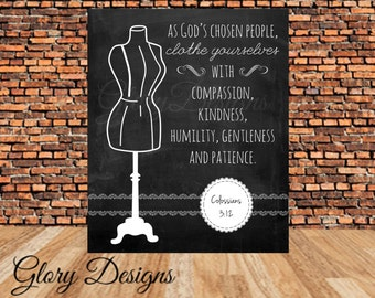 INSTANT DOWNLOAD, Scripture art, Chalkboard printable,  Colossians 3:12 Clothe yourselves