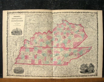Antique Map of Kentucky and Tennessee, 1863 Johnsons Family Atlas, Genuine Antique Hand-Colored Map