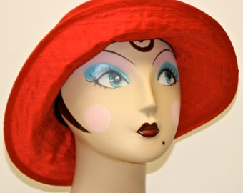 RAIN HAT No Laminate, PACKABLE  Red Silk Womens Hat, Medium Brim Cloche