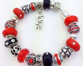 Red Love European Style Charm Bracelet