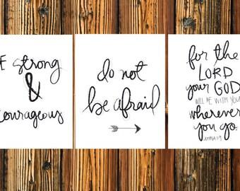 Joshua 1:9 Print- PRINTABLE art, Be Strong and Courageous, boys room, bible verse, kids room, playroom