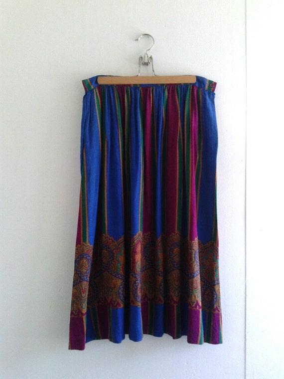 multi colored striped midi or maxi skirt by