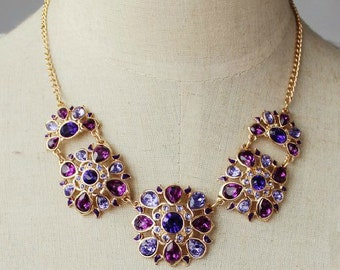 Purple Fever Crystal Statement Necklace Earrings Set / Anthropologie Necklace / Chunky Statement / Bib Necklace / Jcrew Necklace