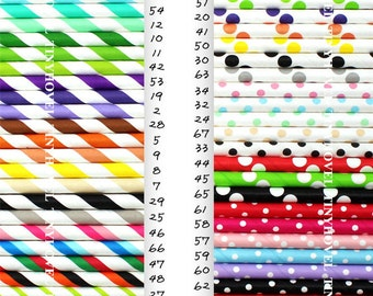 25pcs Dots Striped Paper Straws / DIY Printable Flags