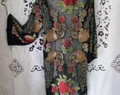 kimono velvet devoure black gypsy boho downton abby flapper great gatsby art deco