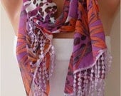 Floral Chiffon Scarf with  Lace Trim Edge