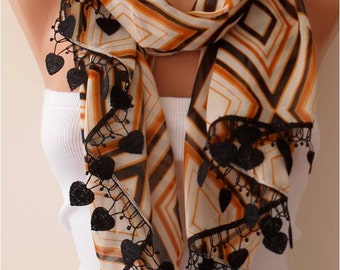 Caramel Chiffon Scarf with Heart Shape Lace Trim Edge