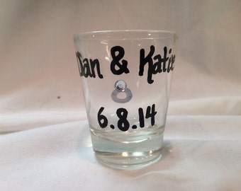 Bride and Groom Shot Glasses, Wedding Shot Glass, Engagement Shot Glass, Bridal Party Gifts, Engagement Announcement, Wedding Party