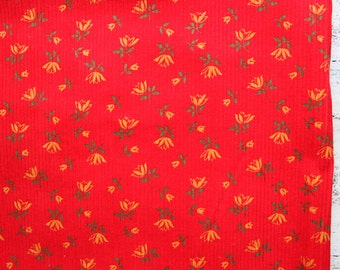 Vintage corduroy fabric 1.4 yards red yellow green nursery fabric for kids