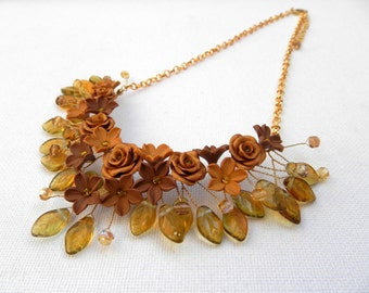 Flower necklace Leaf necklace Fall Necklace Autumn Necklace Fall Jewelry Statement Necklace Fall Leaves Floral Necklace Gift For Her
