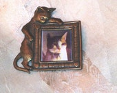 Vintage Cat Frame Brooch Insert Your Own Picture Bronze Frame Estate Jewelry for Kitten & Cat Lovers