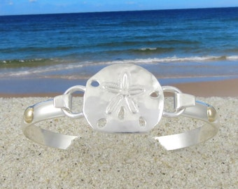 Cape Cod Convertible Sterling Silver and 14k Gold Sand Dollar Bracelet